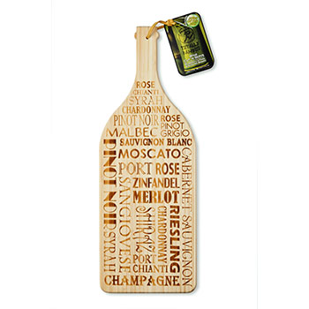 Totally Bamboo Wine Bottle Cutting/Serving  Board 19in x 7in    #20-7770