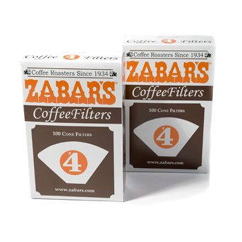 Zabar's #4 Coffee Filters - Box of 100 #PA4100