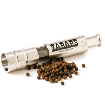 Zabar's Stainless Steel Pump & Grind Peppercorn Grinder 5-1/2""