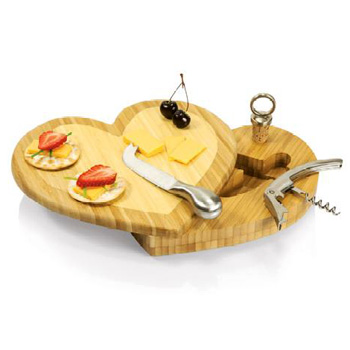 Picnic Time Heart Shaped Cutting Board with Wine & Cheese Tools