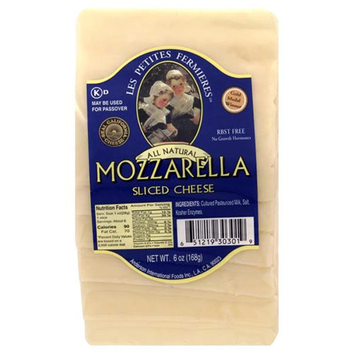 Part-Skim Slice Mozzarella (Kosher) by Les Petites Fermieres, , large