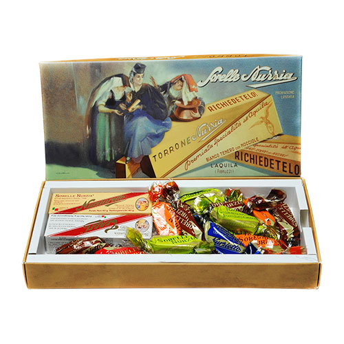 Sorelle Nurzia Vintage Box with Assorted Torrone Bars and Torroncini, , large