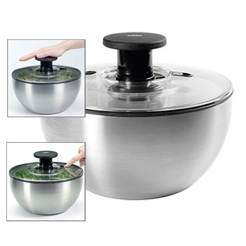 OXO Stainless Steel Salad Spinner #1071497, , large