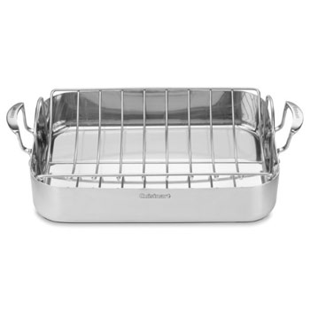 "Cuisinart Stainless Steel 16"" Roasting Pan with Rack #MCP117-16BR, , large"